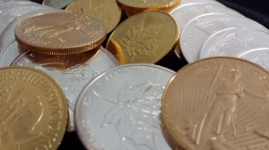Gold coins, silver coins, and gold and silver bullion