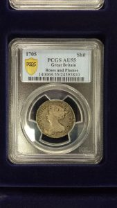 1705 Great Britian Roses and Plumes Shilling - Anne PCGS AU55 Coin
