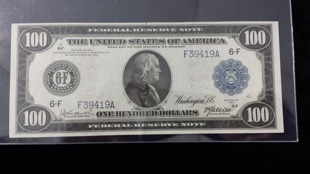 Federal Reserve Note $100 1914 Gem New 65