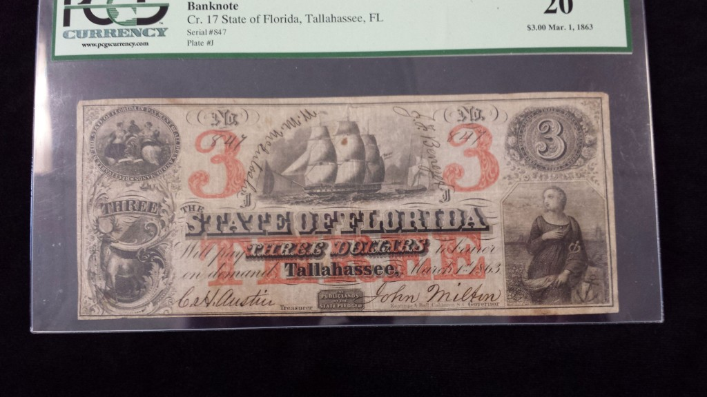 3 Dollar Florida Note 1863 Civil War