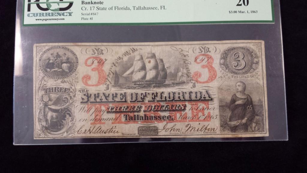 3 Dollar Florida Note 1863 Civil War