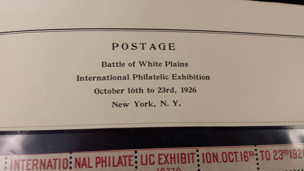 1926 Scott 630 White Plains Stamp Souvenir Sheet